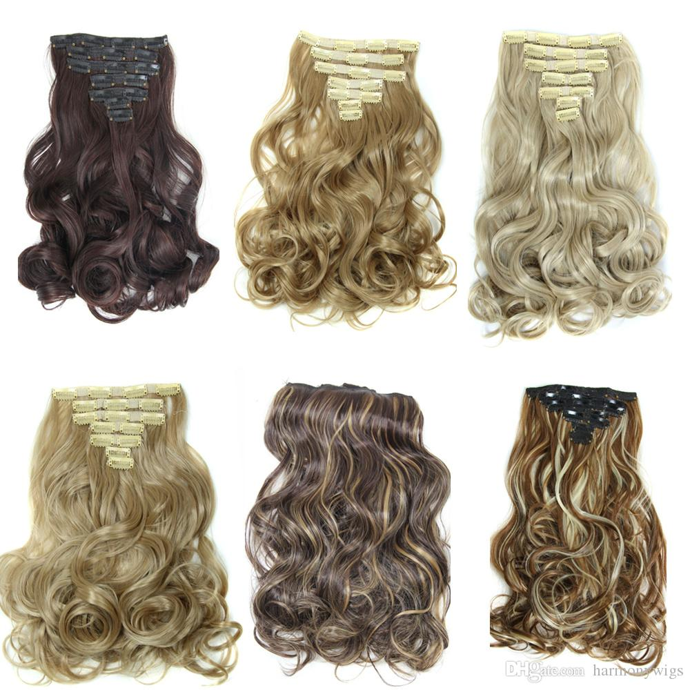 Clip In Hair Extensions Synthetic Hair Pieces Big Curly 20inch 160g
