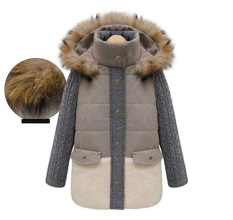 Alta Qualidade Gola De Pele Natural Casaco de Inverno Mulheres Parkas De Lã Quente Jaqueta Patchwork Plus Size Parkas para Mulheres Senhoras