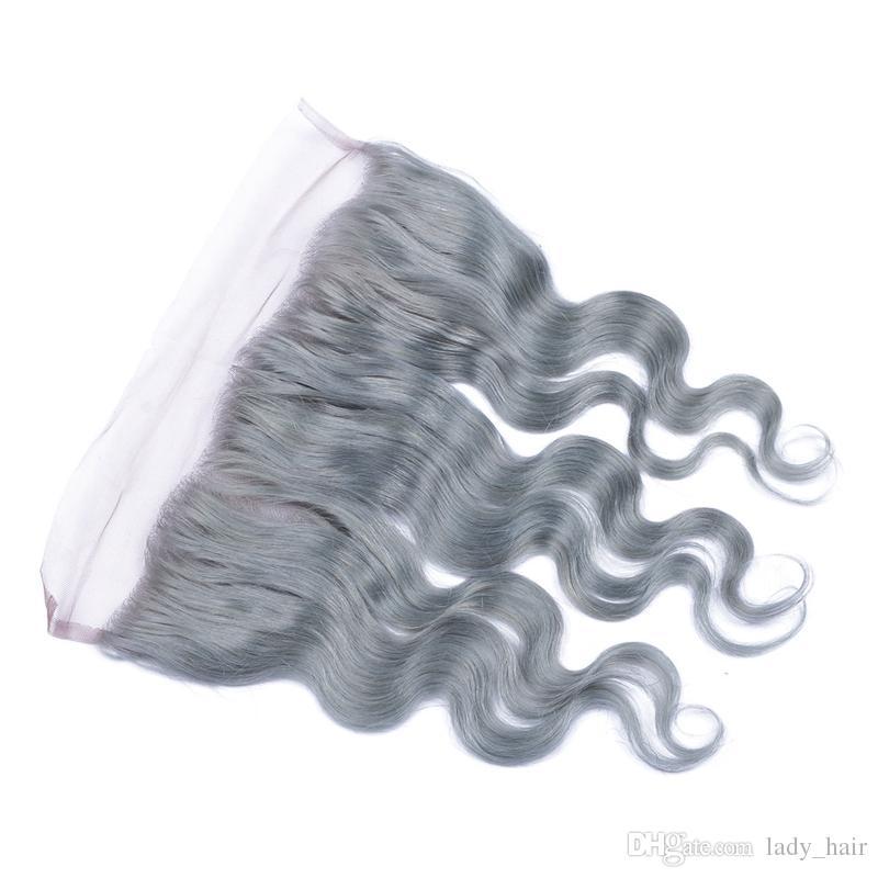 Brasileño Gris Plata Cabello humano De oreja a oreja Frontales de encaje 13x4 Onda del cuerpo Ondulado de encaje Cierre frontal Color gris puro Nudos blanqueados