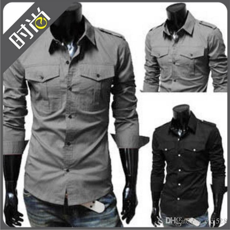 2017 Fashion Casual Men Shirts Europe Plus Size Military Style Men ...