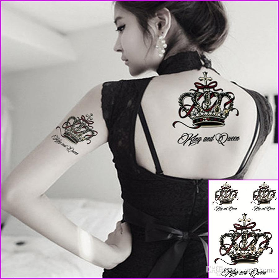 Queen Crown Waterproof Tranfer Temporary Tattoo Henna Paste Lace