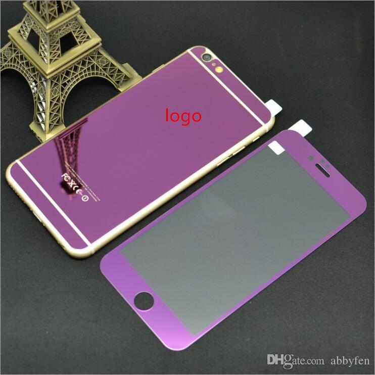 Colorful Mirror Tempered Glass For iPhone7 7plus 6s 6plus 5s Front plus back Premium Mirror Electroplating Tempered Glass Screen Protector