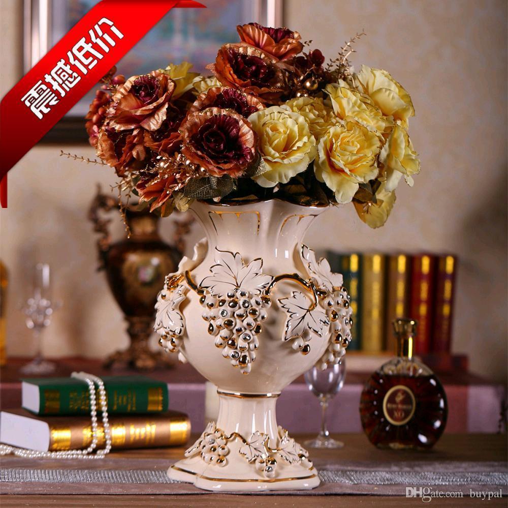 European Style Palace Style Ivory Porcelain Ceramic Vase Flower