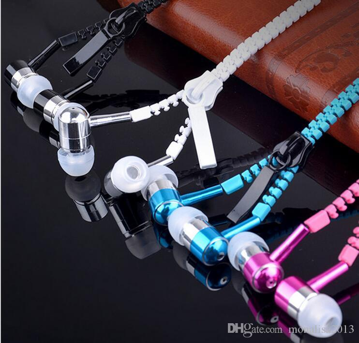 Auricolare Zipper Headset 3.5mm Jack Bass Auricolari In-Ear Zip Cuffie Iphone Samsung Phone PC MID MP3 MP4 Player con pacchetto 2016
