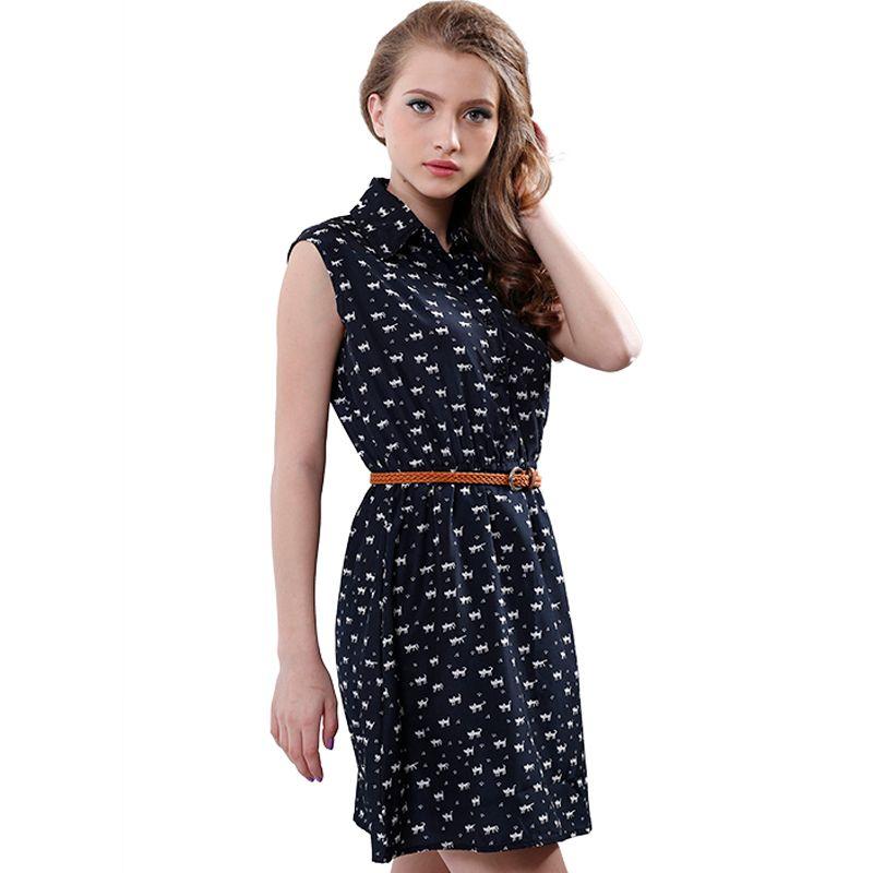 summer 2016 fashion new women shirts dress Cat footprints pattern Show thin Shirt dress casual dresses with Belt