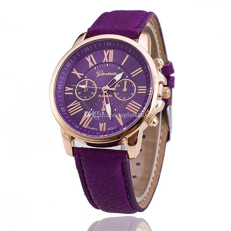 cadeau de Noël Fashion Genève montres montre-bracelet chiffres romains faux cuir coloré bonbons quartz mignon poignet exquis DHL