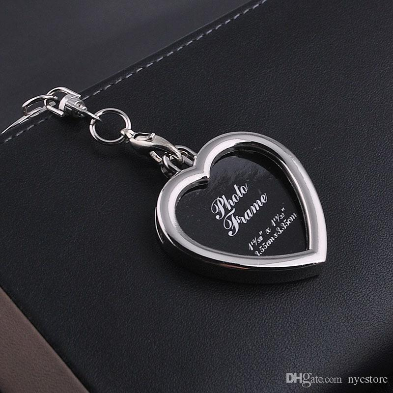 Cadre photo rectangle rond coeur ovale losange forme alliage de métal porte-clés porte-clés porte-clés voiture porte-clés couples porte-clés cadeau de noël