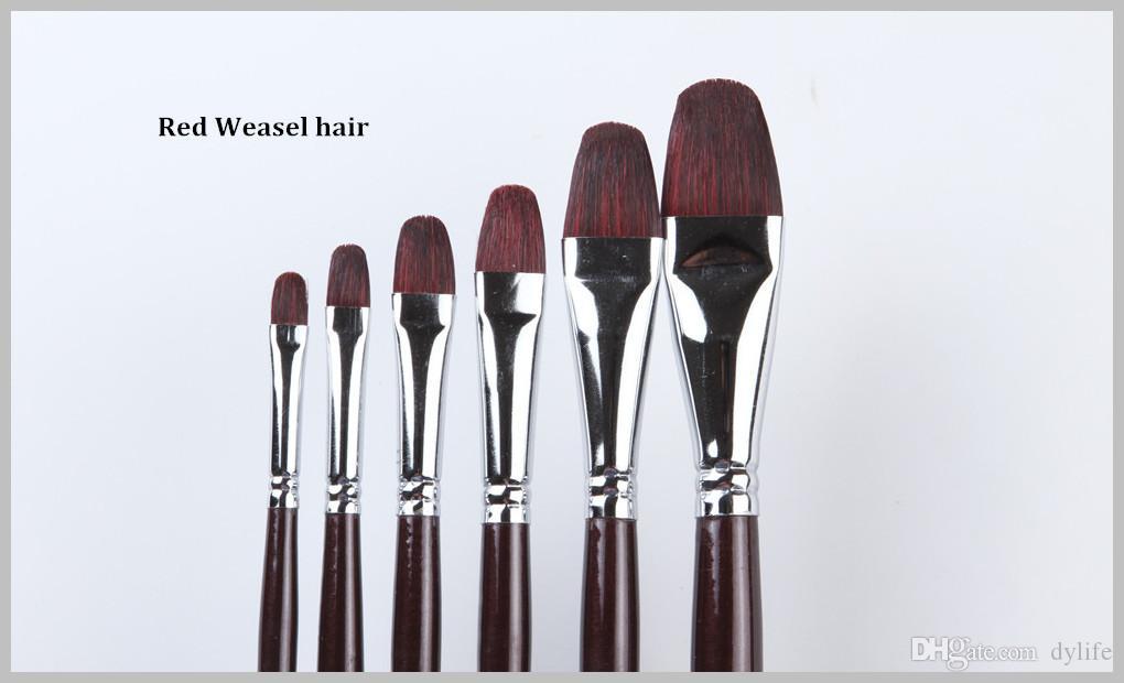 112 Filbert Shape Professional Weasel Hair Artist Set di pennelli pittura ad olio 6 Pz / set Set pennelli olio Manico in legno Capelli donnola