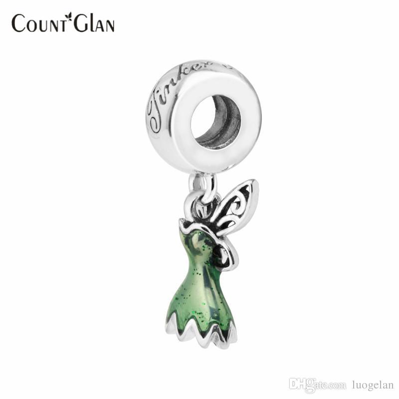 Sterling Silber Schmuck Perlen Für Schmuck Machen DIY Fit Pandora Armband 925 Silber Charm Berloque Kralen Tinker Bell Kleid