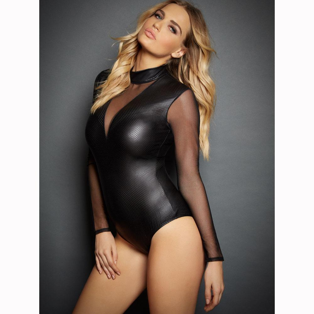 49864373d1 Plus Size 2XL Women Sexy Lingerie Long Sleeve Transparent Latex Mesh ...