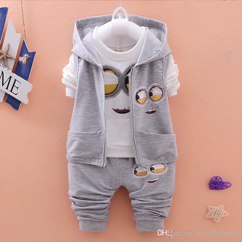 Crianças Roupa Define o desgaste do outono Bebés Meninas Meninos ternos dos desenhos animados Crianças Coats Vest Calças Ternos Casual infantil Roupa recém-nascidos