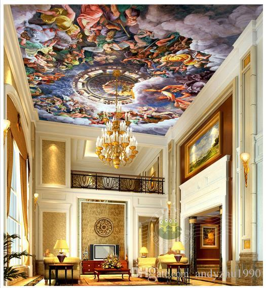 Custom 3d Wallpaper 3d Ceiling Wallpaper Murals Wall Religious Frescoes On  Clouds In The Sky Angel European Art 3d Living Room Wall Decor Pictures For. Custom 3d Wallpaper 3d Ceiling Wallpaper Murals Wall Religious