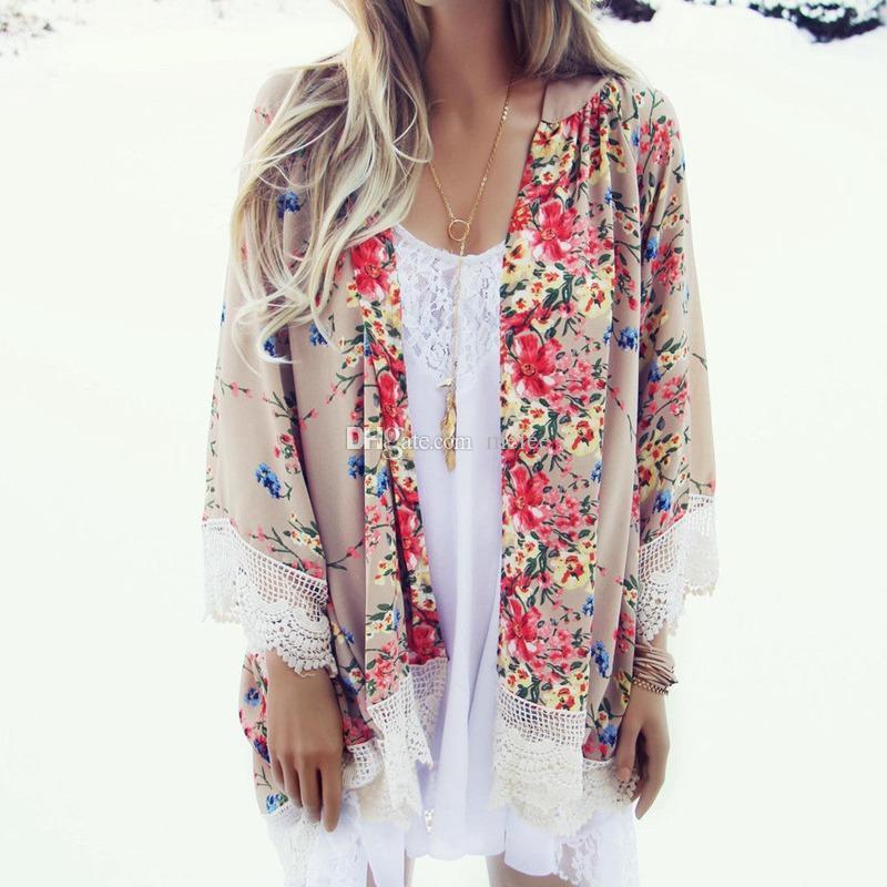 Novas mulheres rendas borla padrão de flor xale quimono estilo cardigan casuais crochet lace chiffon casaco capa up blusa escolher navio livre
