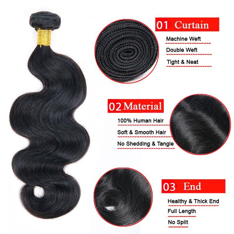 غير المجهزة 4 حزم موجة الجسم مع الشعر البشري الدانتيل إغلاق الطبيعي الأسود 100٪ 7a العذراء الماليزي الهندي بيرو الإنسان الشعر