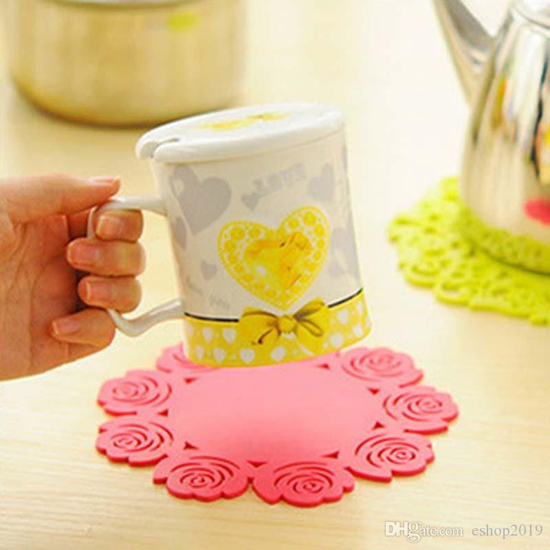 Rubber Rose Cup Coaster Cup Mat 3 Sizes Cushion Holder Drink Cup Placemat Coffee Pad Saucer Pot Mat