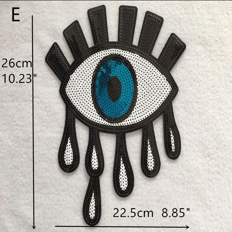 embroidered sequins patch eyes pattern iron on Zakka patchwork DIY
