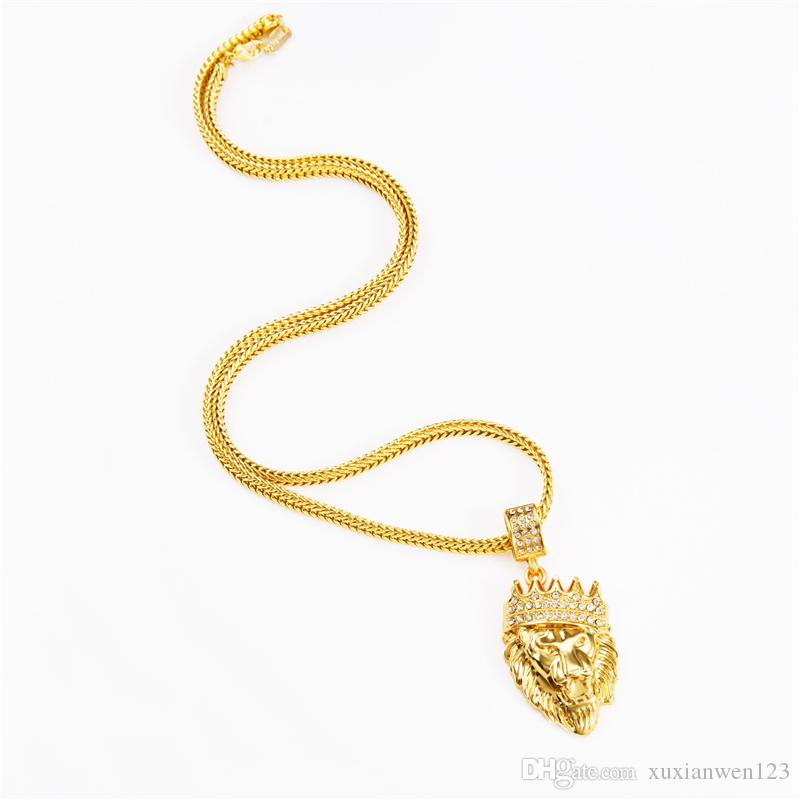 Hot Mens Hip Hop Jewelry Iced Out 18K Gold Plated Fashion Bling Bling Lion Head Pendant Men Necklace Gold Filled For Gift/Present