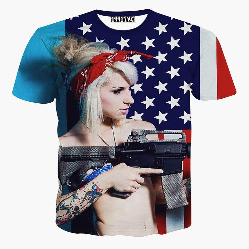 Tshirt USA Flag Printed Men S 3d T Shirt Funny Digital Printing Sexy Girl  Holding Gun Short Sleeve T Shirt Summer Tops Make Your Own T Shirts T Shirt  ... d8e68faba263