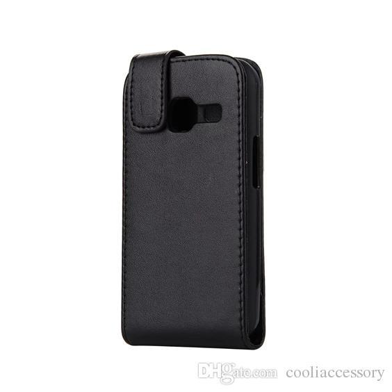 2016 Nuevo Flip PU Funda de cuero para Sony Ericsson Xperia E5 C6 Samsung Galaxy J1 MINI J3 PRO Vertical Funda de piel con bolsillo negro Funda de lujo