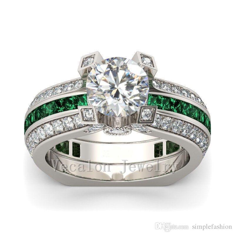 Anello di fidanzamento di lusso femminile Vecalon Emerald diamante simulato Cz 925 Anello di nozze in argento sterling Set le donne