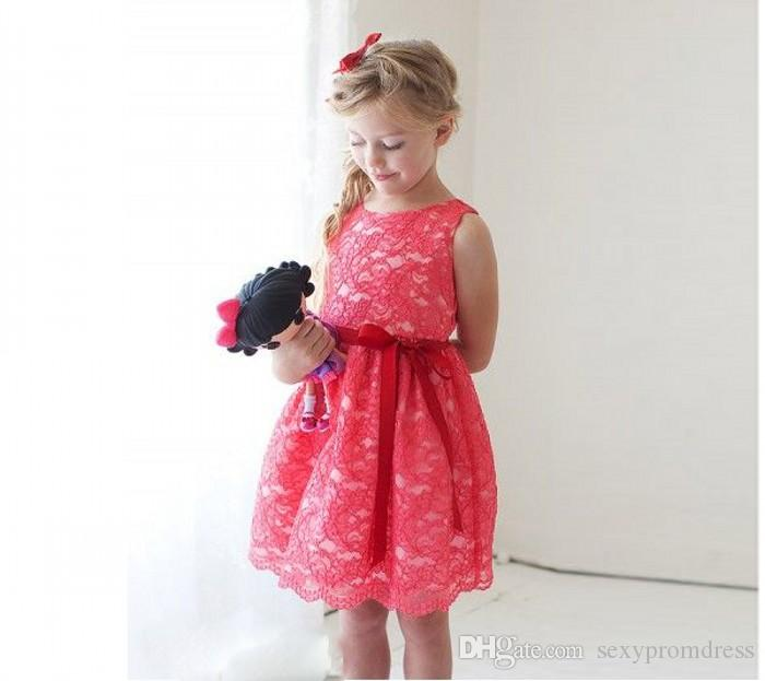 Water Melon Color Lace Flower Girl Dresses For Wedding 2017 A Line Sleeveless Red Ribbon Sash Knee Length Girls Pageant Prom Party Dresses