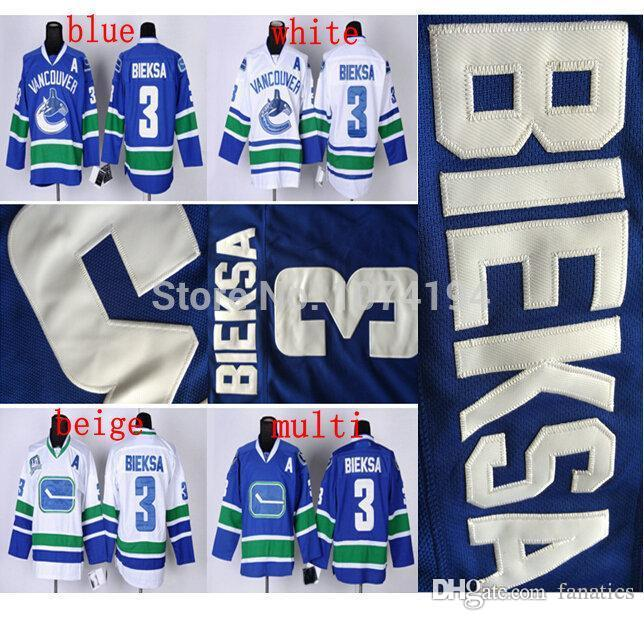 e0f82f509 2016 Wholesale Vancouver Canucks  3 Kevin Bieksa Jersey Blue Authentic  Hockey Embroidery 100% Stitched Cheap Jersey Sports Jerseys Cheap Sports  Jerseys ...