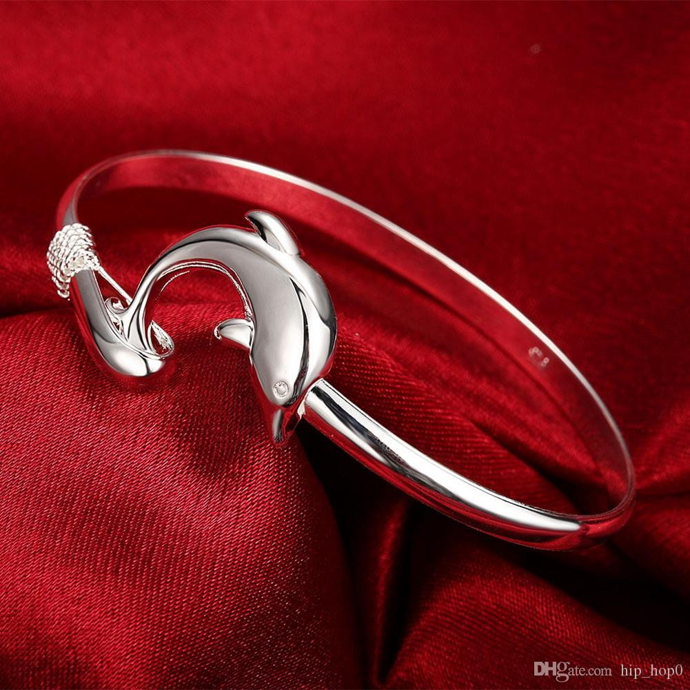 Loose Money Promotions! 925 Jewelry Silver Plated Fashion Dolphin Animal Charms Bangle Bracelet Fine Fashion Cute Silvery Bangle Bracelet
