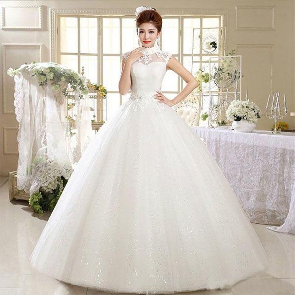 2016 Sparkly High Neck Ball Gown Wedding Dresses Princess Sheer Cap ...