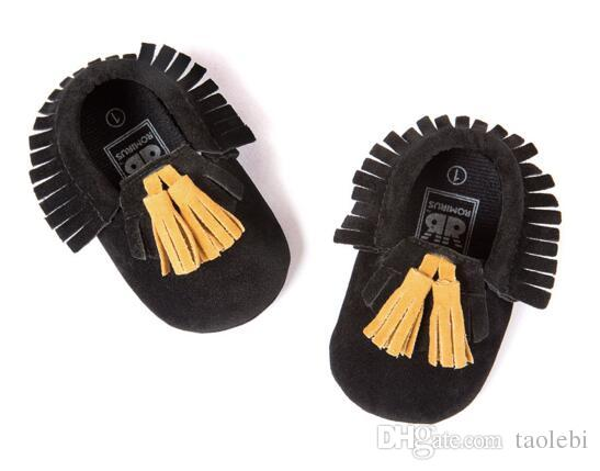 ROMIRUS® Matte Texture Baby Leather Bowknot Tassel Fringe Moccasin Shoes for Infant Toddler