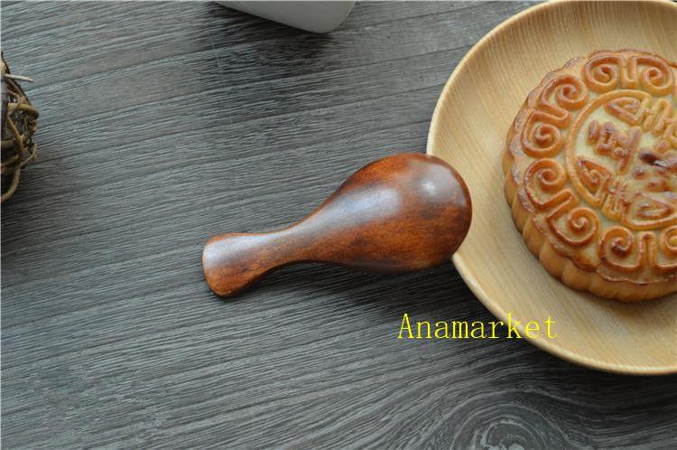 120 pçs / lote de alta qualidade a colher de chá de madeira talheres criativo colher de leite nanmu de madeira louça do bebê café tamanho 8 * 3.5 cm dhl fedex livre