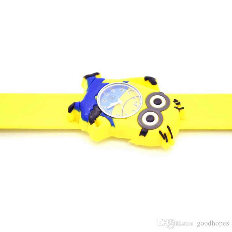 3D Cartoon Snap Watch Children Kid Slap Snap Watches Silicone Quartz Wristwatch Students Chirstams Birthday Gift Watches