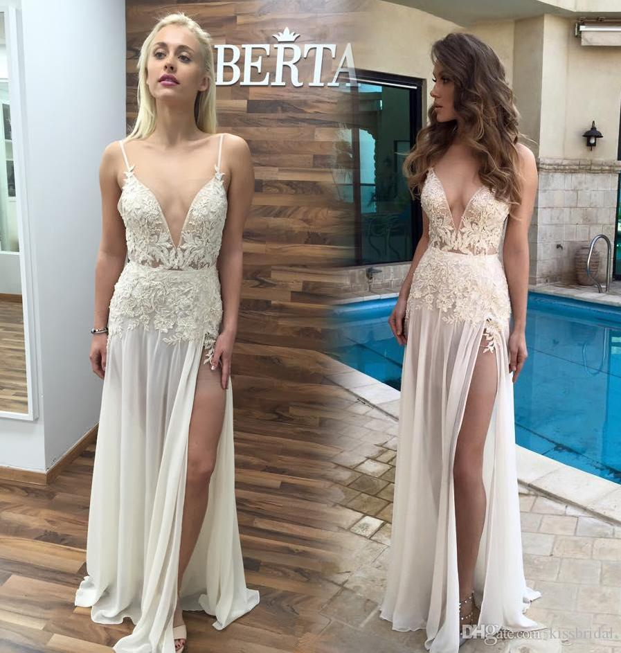 Boho 2016 Berta Long Beach Wedding Dresses With Sexy Spaghetti Straps Deep V Neck Lace A Line High Split Chiffon Floor Length Bridal Gowns