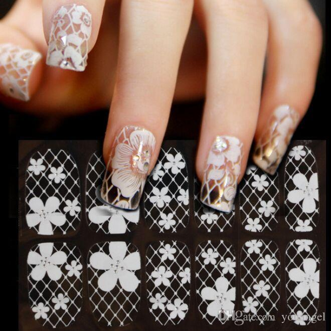 White Lace Nail Art Template 16 Designs Nail Decals 15*7.5cm Diy ...
