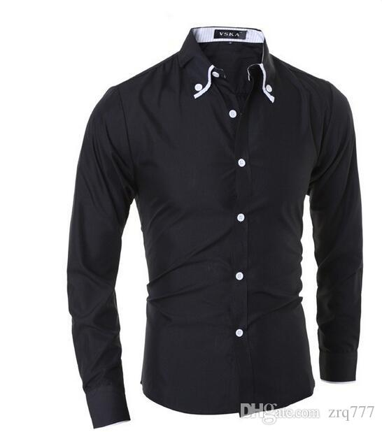 2017 New Brand Male Shirts Casual Turn Down Collar Long Sleeve ...