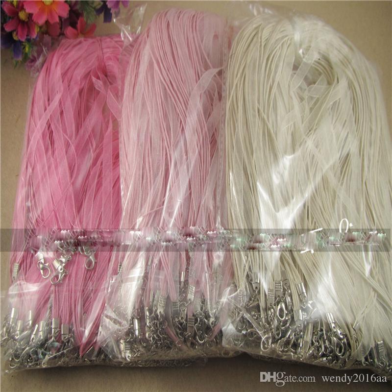 Горячие продажа шнур цепи симпатичные mix цвета органзы вуаль ленты ожерелья подвески цепи 3+1 18