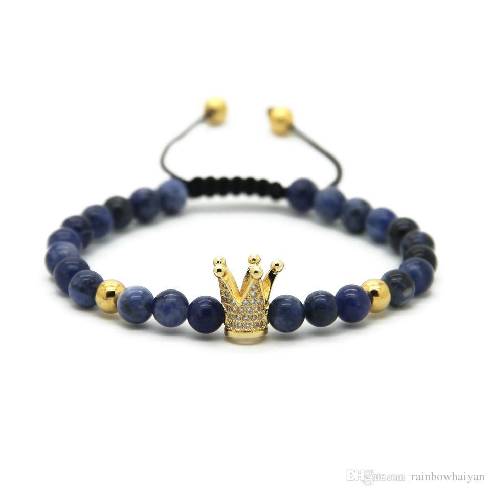 6MM عين النمر الطبيعي رمادي جاسبر برونزييت الأوردة الزرقاء ستون الخرز الذهب والفضة مطلي تاج مضفر سوار تشيكوسلوفاكيا