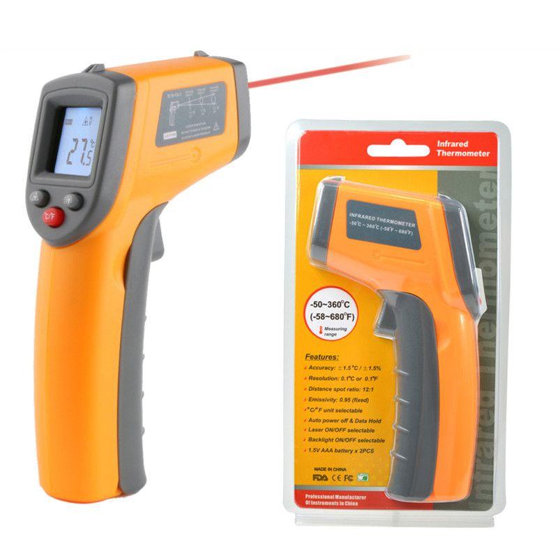 Laser LCD Display Digital IR Infrared Thermometer Auto Temperature Meter  Gun Non Contact Sensor -50 ~ 360 Degree