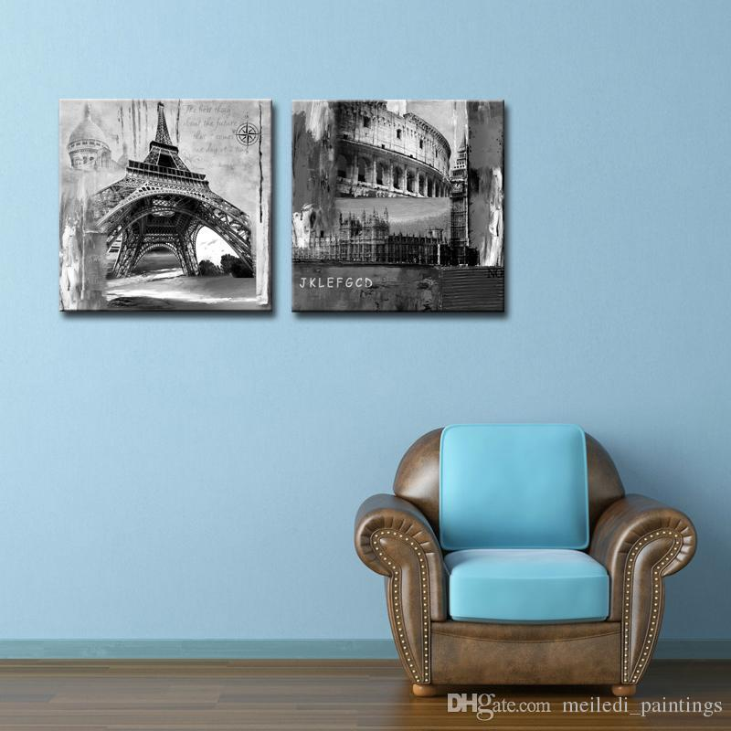 Best Quality Wall Art Painting Eiffel Tower And Colosseum In Rome ...