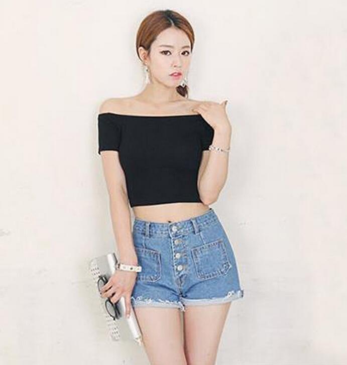 2799aee9 Slash Neck T-Shirt Girl t shirt slash neck 90's crop top European style  black t-shirt women tops Autumn Short sleeve halter
