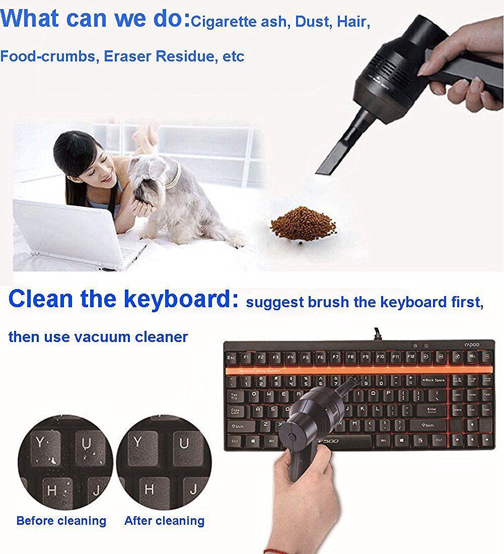 Dispositivo de mano Mini USB Aspirador fuerte Máquina de polvo Máquina barredora de vacío Herramienta de limpieza de polvo con cepillo para teclado PC Portátil Mesa Coche Mascota