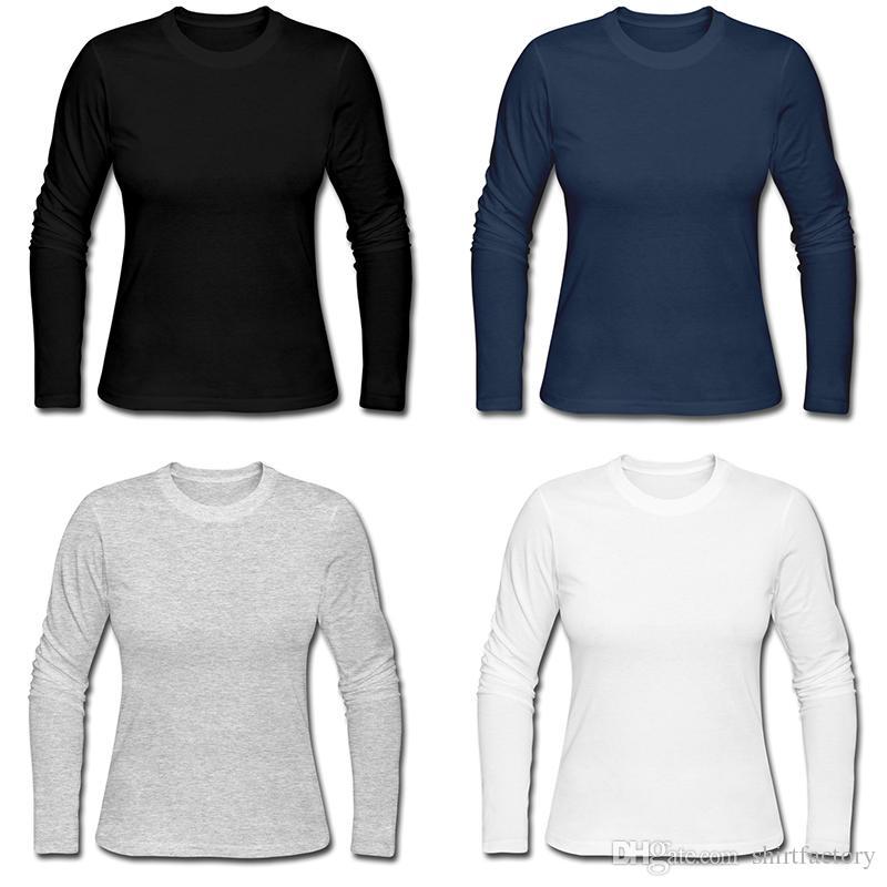 Yeni kadın uzun kollu tee moda saf pamuk üstleri açık spor spor t-shirt 2XL custom made t gömlek kaba tişörtlü