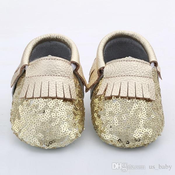 Baby Fransen Pailletten Moccs 10 Farben wählen Säugling Junge Mädchen Gold gelb Silber Mokassins weichen Leder Moccs Kleinkind Booties niedlichen Schuhe