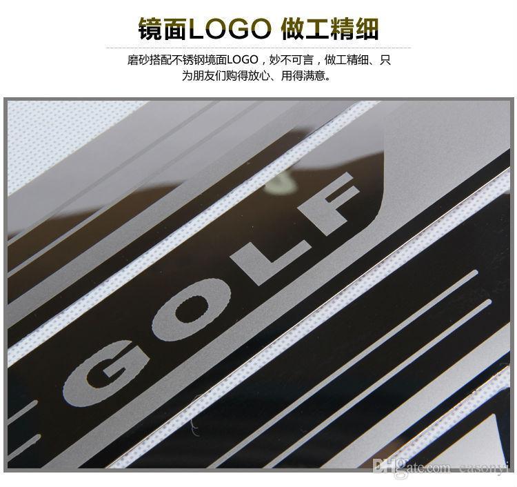 Ультра-тонкий нержавеющей стали потертости пластины порога двери подоконник для Vw Golf 7 MK7 Golf 6 MK6 Добро пожаловать педаль порог аксессуары для автомобилей 2011-2015