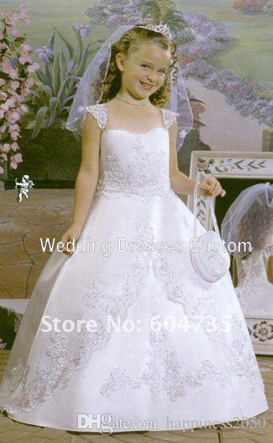 Adorável cetim branco de organza applique vestido da menina de flor da menina pageant vestidos de princesa de férias saia tamanho personalizado 2-14 h907033