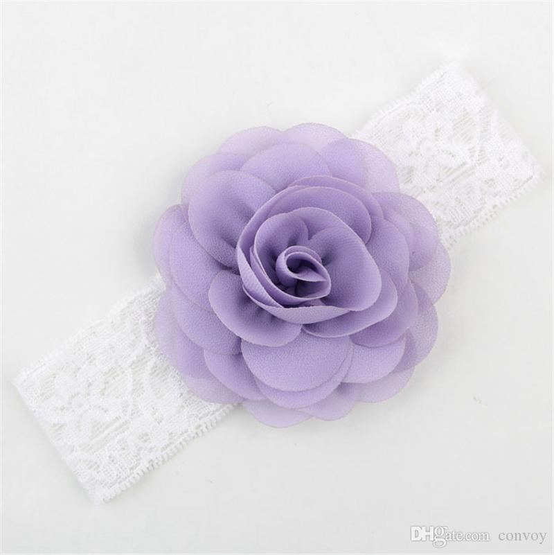 NEW Girls Kids Wide Lace Chiffon Flower Headbands Baby Elastic Rose Hairbands Infants Hair Accessories Princess Headdress KHA344