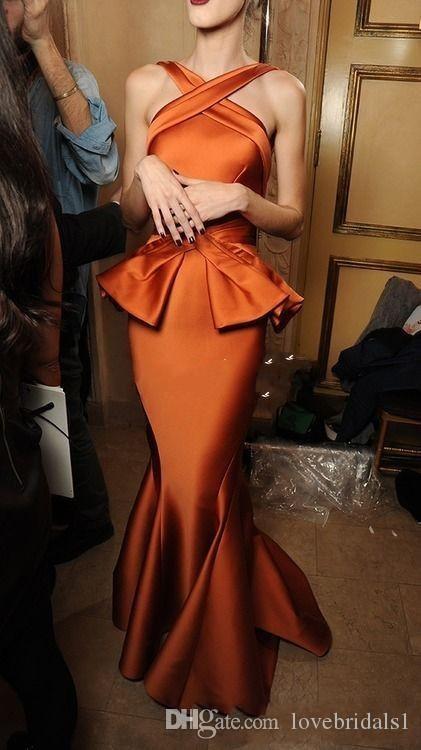 2019 Vintage Burnt Orange robes de soirée sirène ruché Satin Croix Cou Etage Longueur Femmes Long Formelle Robes De Fête Pas Cher Arabe Robe De Bal