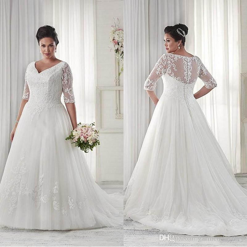 Discount modest plus size wedding dresses sleeves v for Plus size lace wedding dresses with sleeves