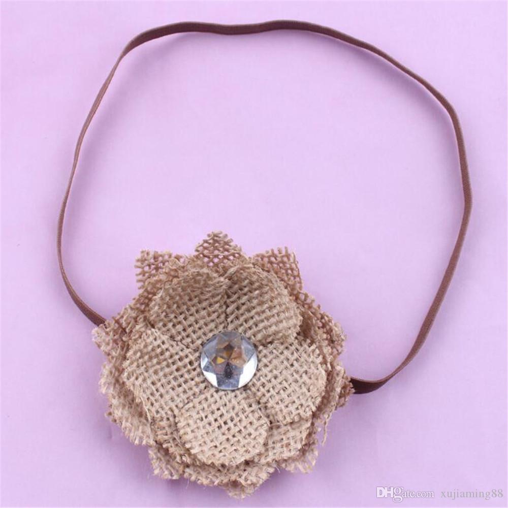 5шт белье цветок младенческой детские ободки кофе цвет девушка Hairband головные уборы Дети Детские фотографии реквизит новорожденных детские ленты для волос аксессуары