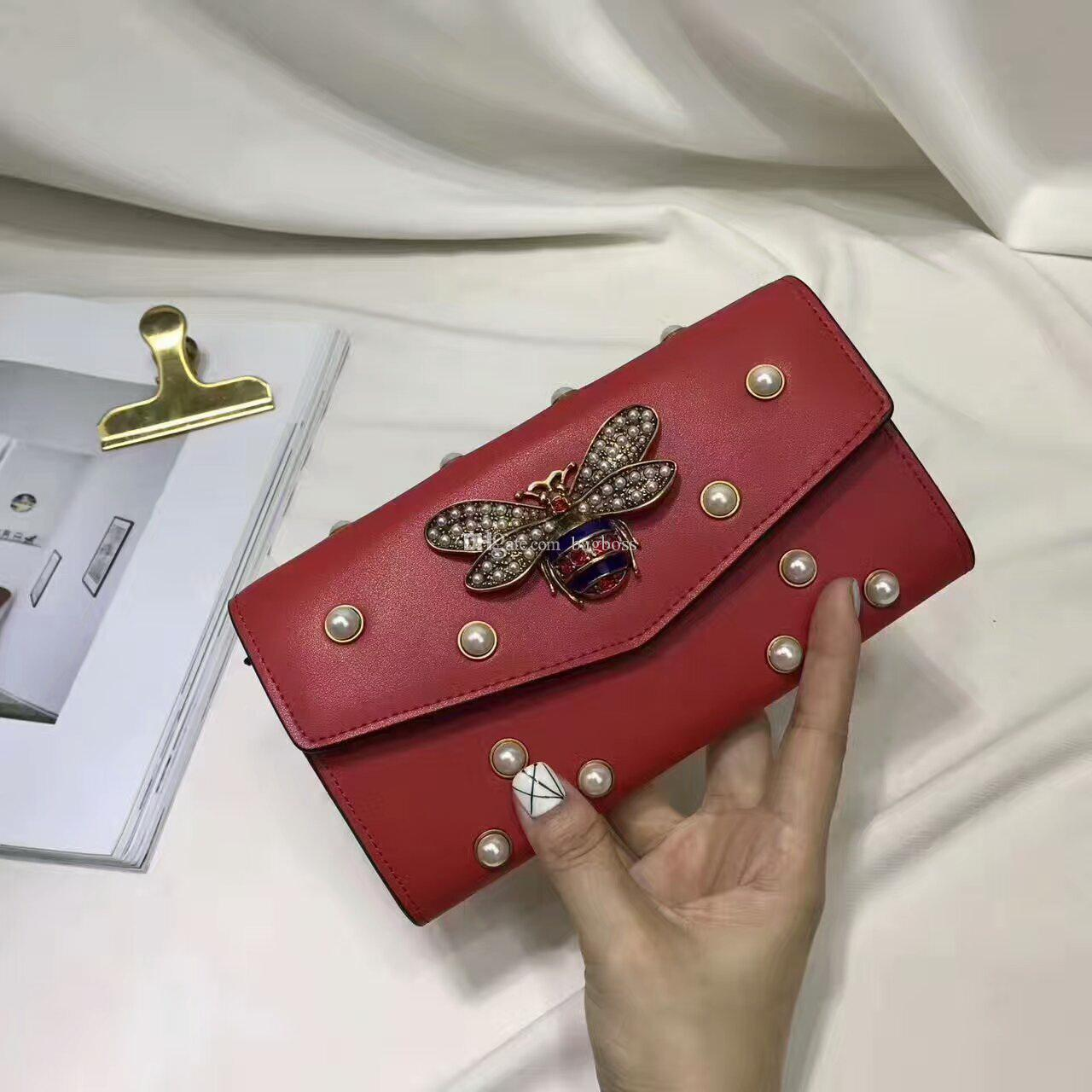 048e1f8a7e7c Fashion Long Style Designer Clutch Women Purse Brand Leather Bee Wallet  Bifold Credit Card Holders Wallets With Box Dustbag GUU 476083 Girl Wallets  ...