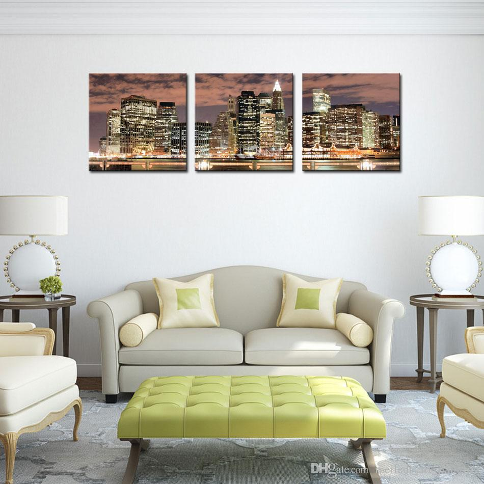New York City Night Canvas Print Stretched Canvas No Frame Featuring The perfect fine art addition to your home or office decor